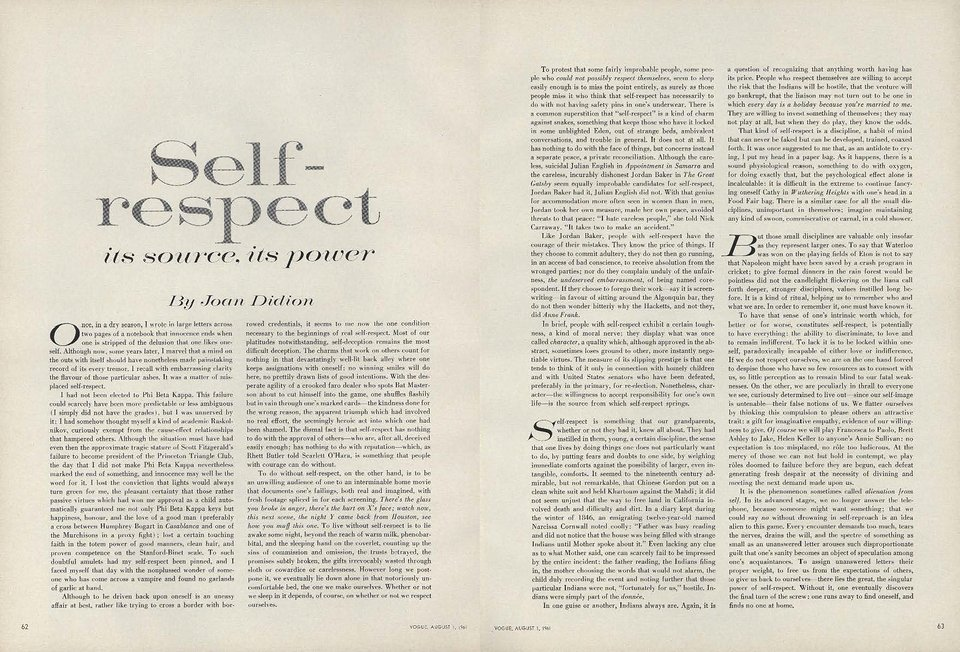 Self Respect Its Source Its Power By Joan Didion  Claire Slater  On Selfrespect Joan Didions  Essay From Vogue Short English Essays also Writers For Assignment Required  Grant Writing Services Fee
